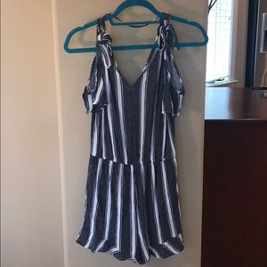 Gray and White Off the Shoulder Romper
